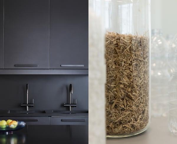 我们不断寻找新的方法来利用废料和回收材料,将它们变为实用又漂亮的产品,比如 KUNGSBACKA 孔巴卡 厨房柜门。