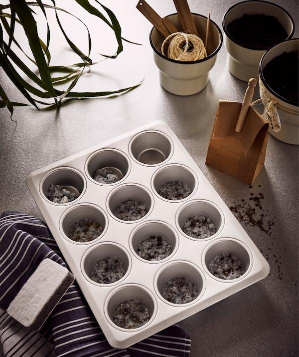 一个大玻璃碗内,撕碎的餐巾纸做成了湿纸浆,正用 IDEALISK 艾迪利斯 滤水器进行过滤,旁边是三个花盆。