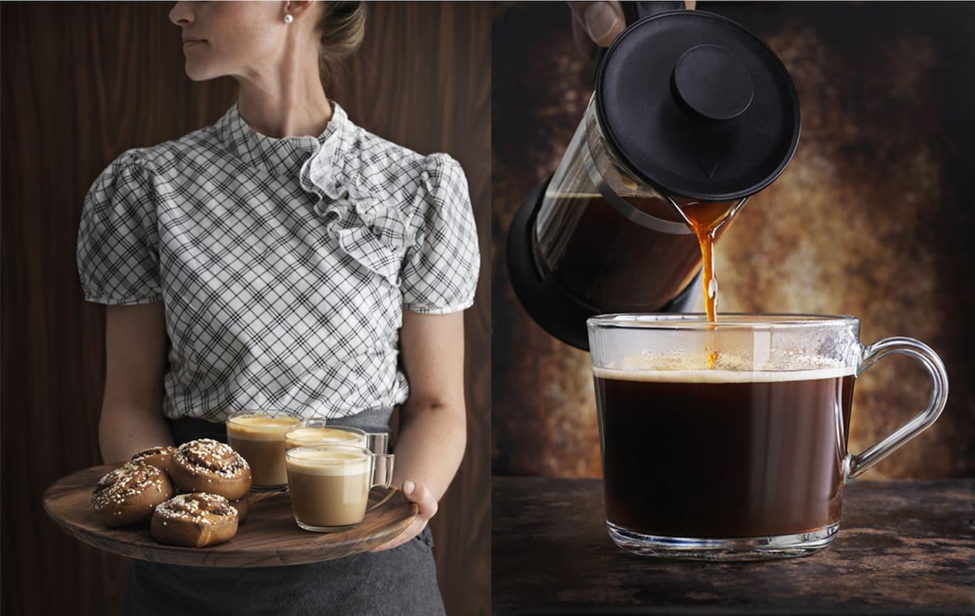 一位女性端着一托盘肉桂面包和咖啡。特写:咖啡正被倾入玻璃杯中。
