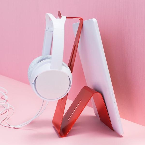 宜家 MÖJLIGHET 莫伊里黑特 耳机/平板支架外形小巧、结实耐用、设计巧妙,可为你增加储物空间。轻巧的红色钢材宛若一条笔直的蛇,专为青少年设计,不过成年人也可使用。