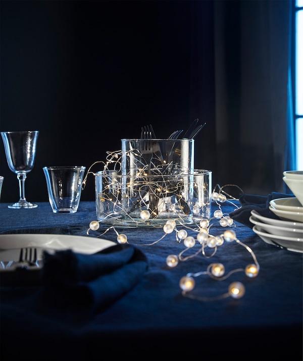 银色 SNÖYRA 斯诺于拉 LED灯串40头,采用电池供电,仅供室内使用。