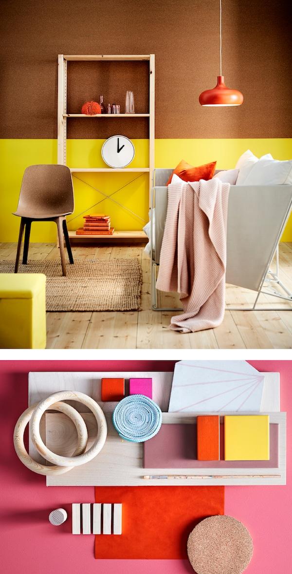 用柔和的春季色彩和现代家具装扮客厅。选择一到两个醒目亮色,然后混合搭配素色,比如宜家 HAVSTEN 霍夫斯田 米色和灰色沙发,或是 INGABRITTA 因阿布里塔 浅粉色沙发罩。