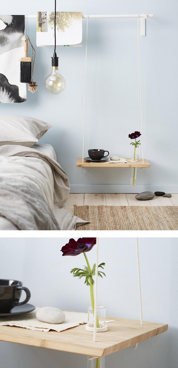 用砧板做成的自制床边桌,钻孔穿绳后用来放置一个细长的玻璃花瓶