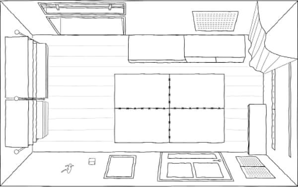 这是我们小门厅的平面图,仅有5.6平米,但是我们充分利用了可用空间,巧妙运用墙壁提升了其实用功能。