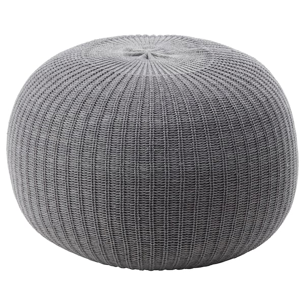 SANDARED Pouffe, grey, 56 cm