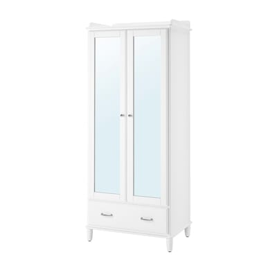 TYSSEDAL Wardrobe, white/mirror glass, 88x58x208 cm