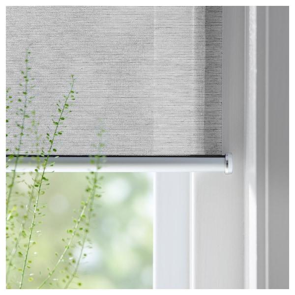SKOGSKLÖVER Roller blind, grey, 140x195 cm