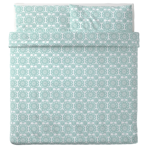 ÄNGSSALVIA Quilt cover and 2 pillowcases, white/turquoise, 240x220/50x80 cm