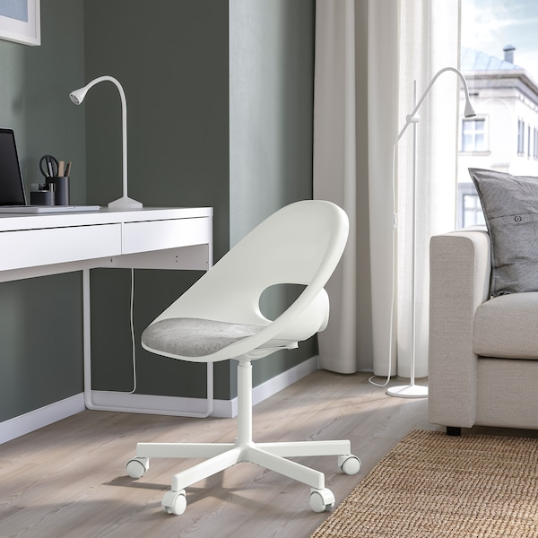 LOBERGET / BLYSKÄR Swivel chair with pad, white/light grey