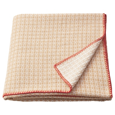 SOLGLIMTAR Throw, brown/white, 130x160 cm