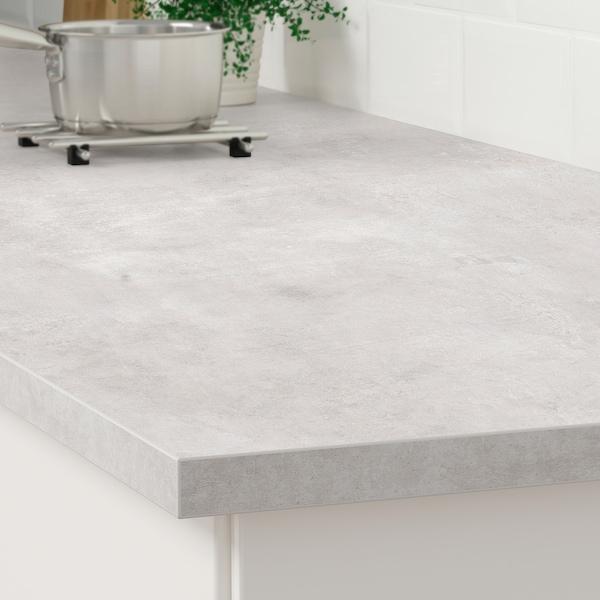 宜伯肯 操作台面, 淡灰色 仿混凝土效果/层压板, 186x2.8 厘米