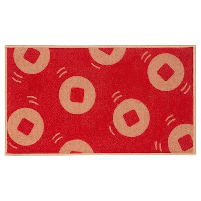 SOLGLIMTAR Door mat, red/gold-colour, 40x70 cm