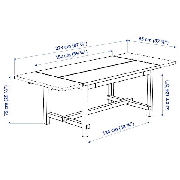 诺德维肯 伸缩型餐桌, 白色, 152/223x95 厘米