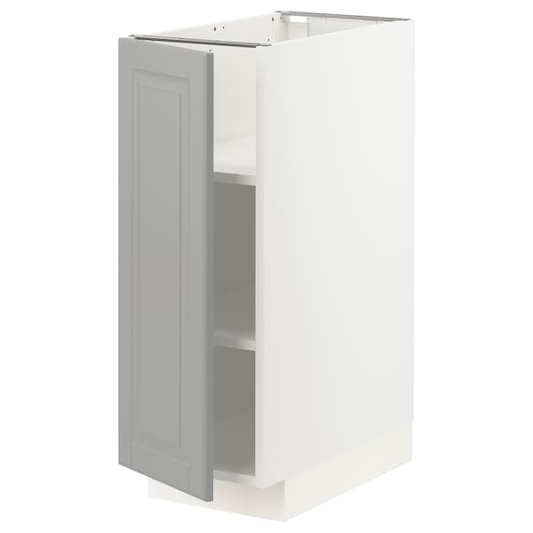 METOD Base cabinet with shelves, white/Bodbyn grey, 30x60x80 cm