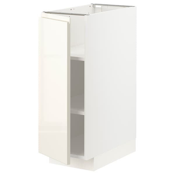 METOD Base cabinet with shelves, white/Voxtorp high-gloss light beige, 30x60x80 cm