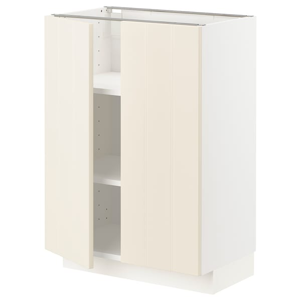 METOD Base cabinet with shelves/2 doors, white/Hittarp off-white, 60x37x80 cm