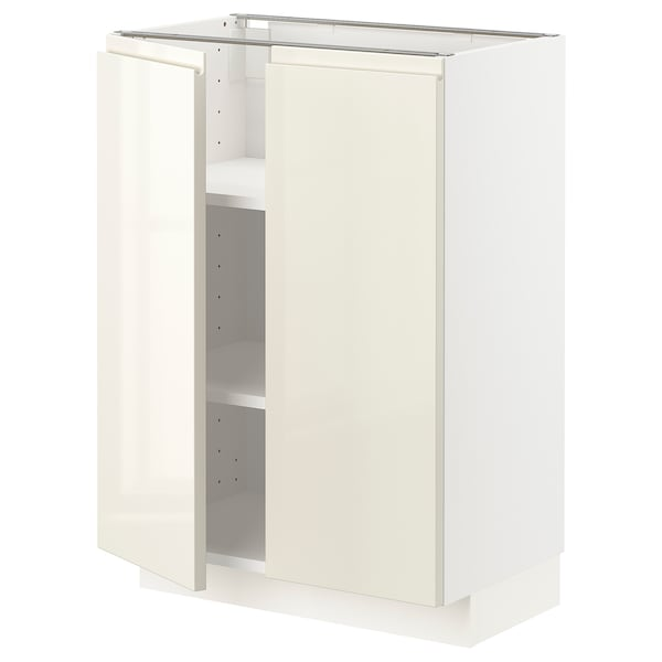 METOD Base cabinet with shelves/2 doors, white/Voxtorp high-gloss light beige, 60x37x80 cm
