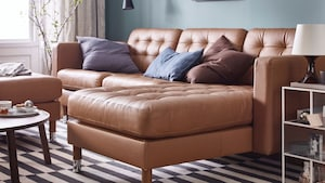 Leather/coated fabric sofas with chaise longues