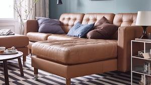 带贵妃椅的真皮/人造革沙发